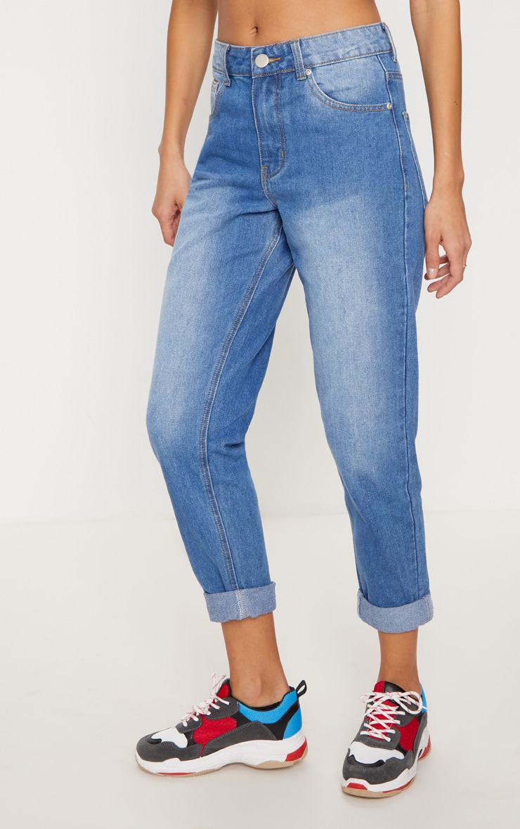 Mid Wash Mom Jeans 2