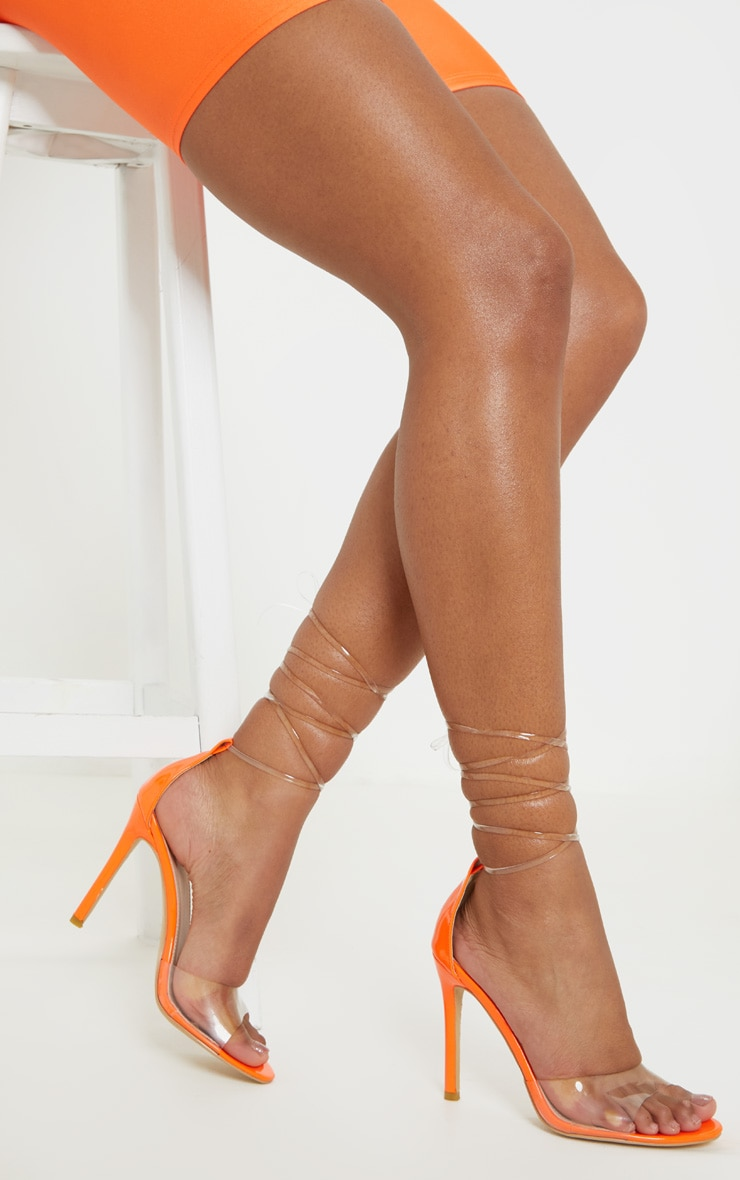 Neon Orange Clear Leg Tie Heeled Sandal 2