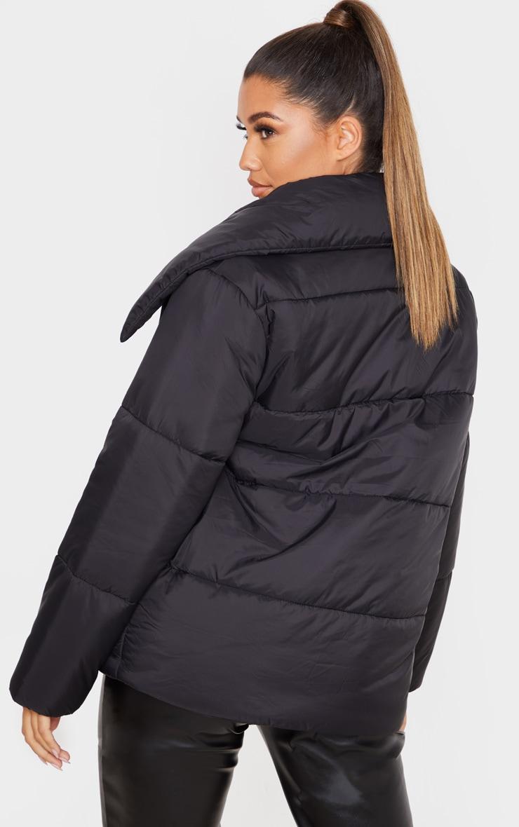 Black Side Buckle Puffer Jacket 2