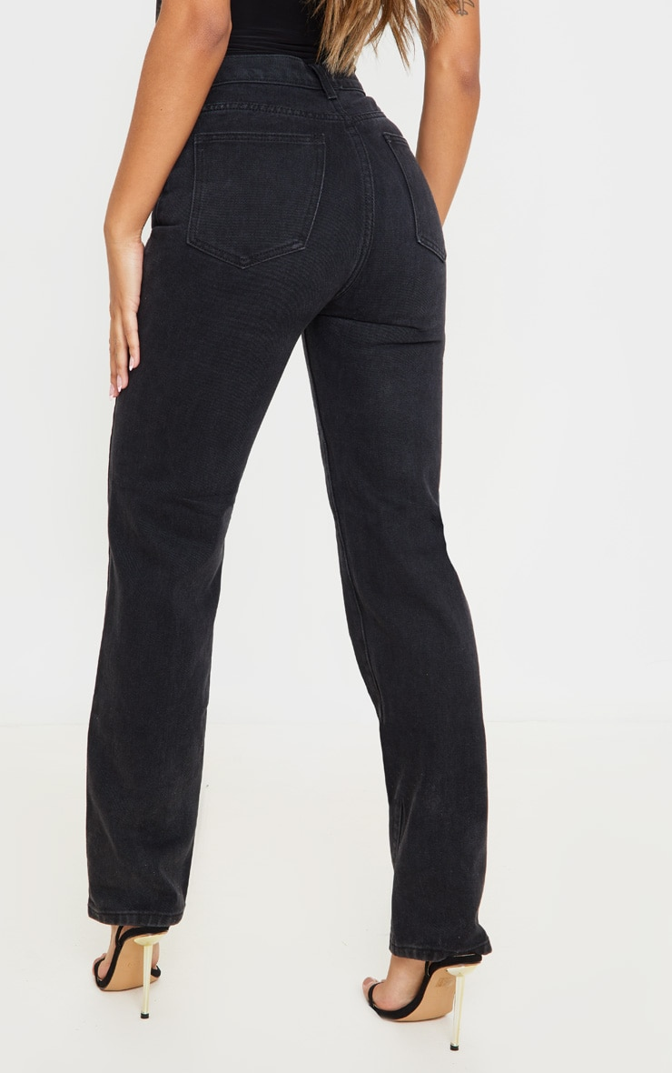 Washed Black High Waist Straight Leg Jeans 4