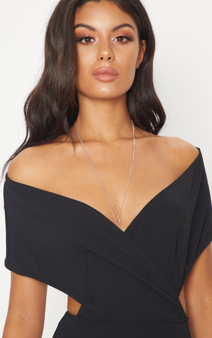 Black Bardot Cut Out Fishtail Maxi Dress 5