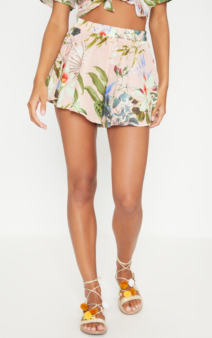 PINK PALM PRINT FLOATY SHORT