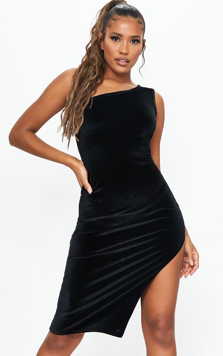 Black Velvet One Shoulder Split Midi Dress 1