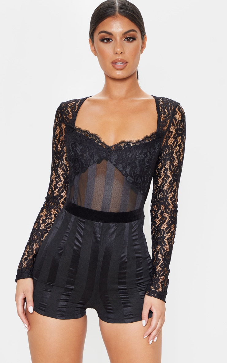 Black Lace Mesh Detail Long Sleeve Playsuit 1