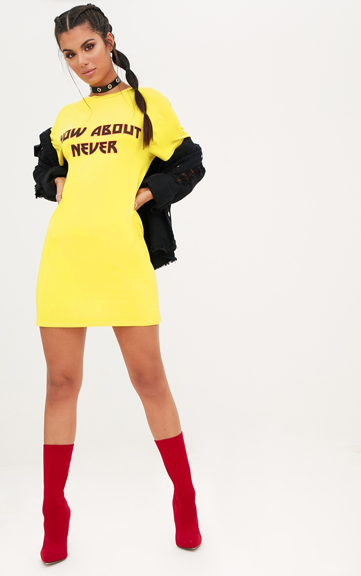 Yellow How About Never T Shirt Dress 4