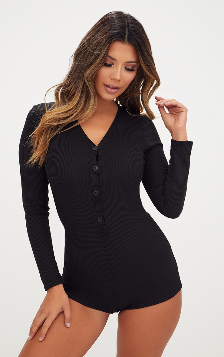 Black Ribbed Button Detail PJ Romper 1