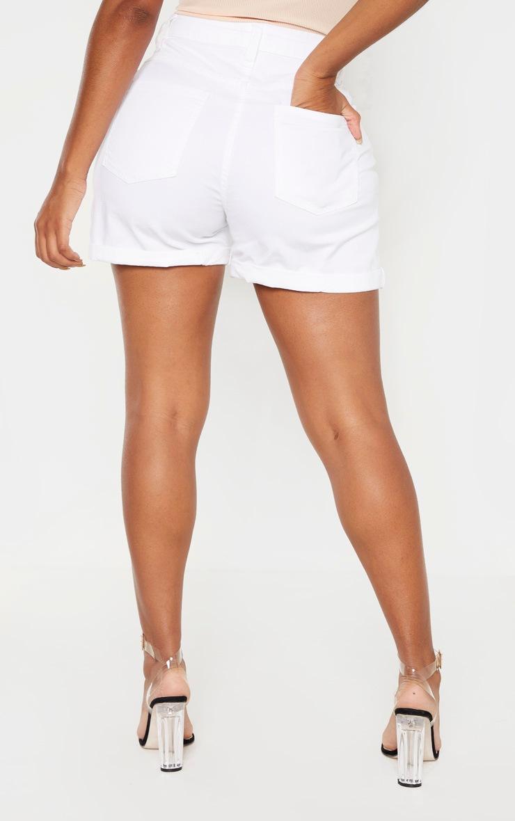 Shape White High Waist Fitted Denim Shorts 4