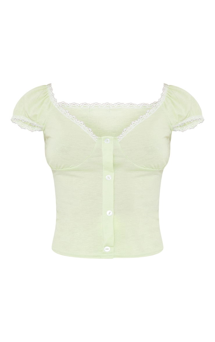Lime Jersey Lace Frill Button Up Top 5