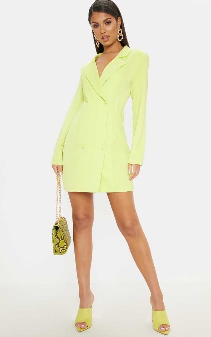 Neon Lime Long Sleeve Blazer Dress 1