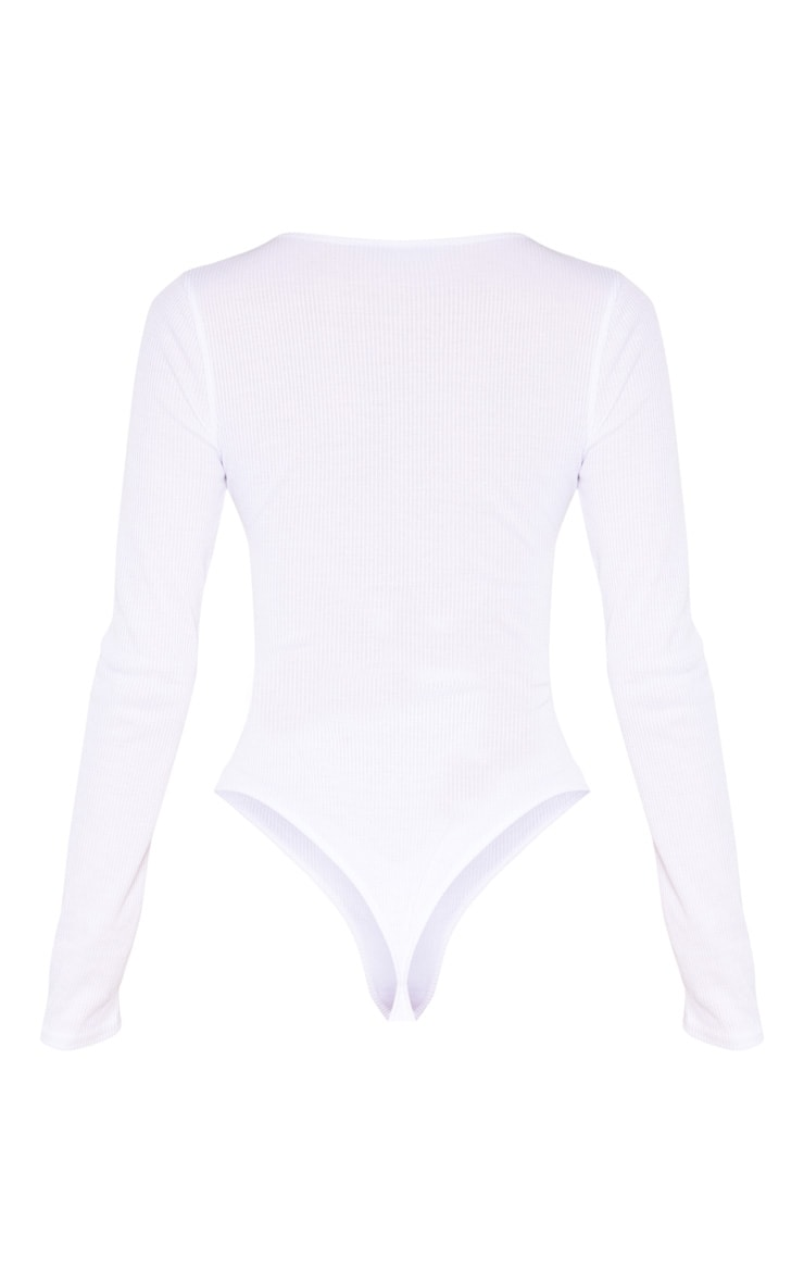 Tall White Ribbed Plunge Long Sleeve Bodysuit  6