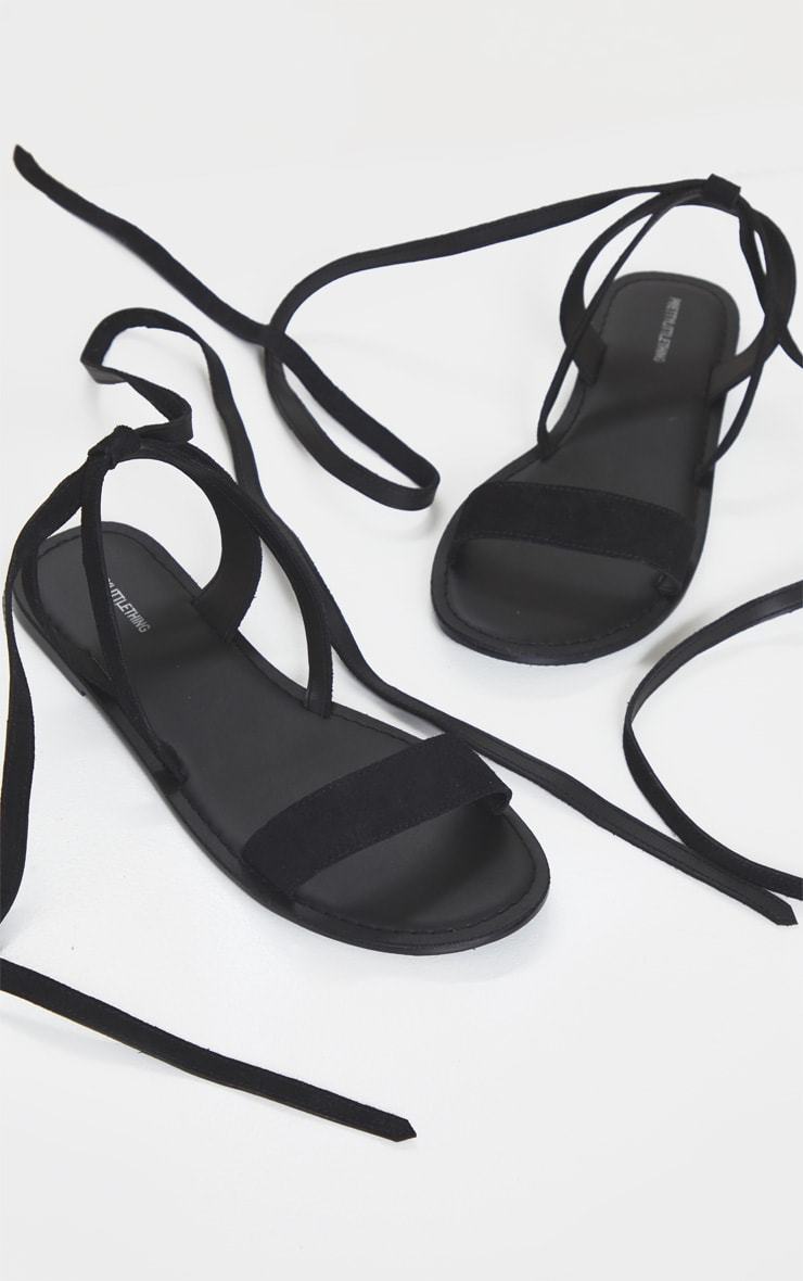 Black Wide Fit Suede Strappy Basic Sandal 3