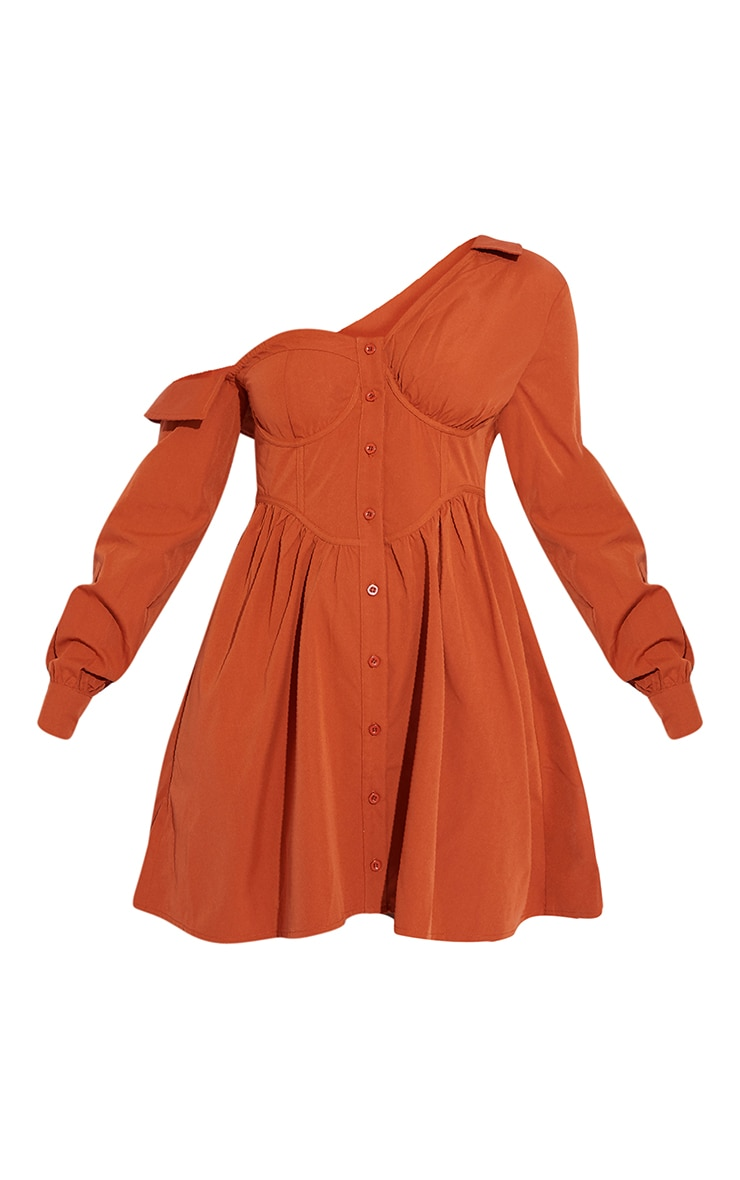 Terracotta Off The Shoulder Corset Detail Shift Shirt Dress 5