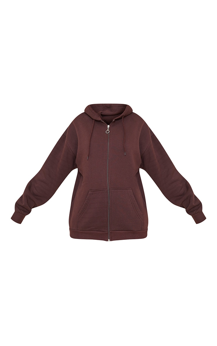 Chocolate Brown Extreme Oversized Pocket Front Zip Through Hoodie 5