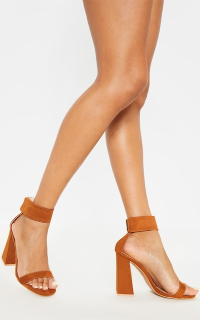 Tan Ankle Cuff Block Heel Sandal