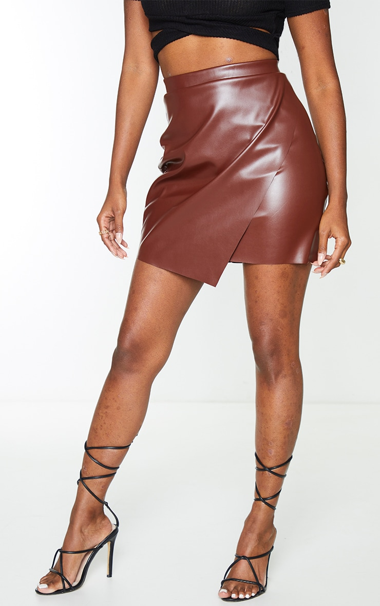 Chocolate Faux Leather Wrap Mini Skirt 2