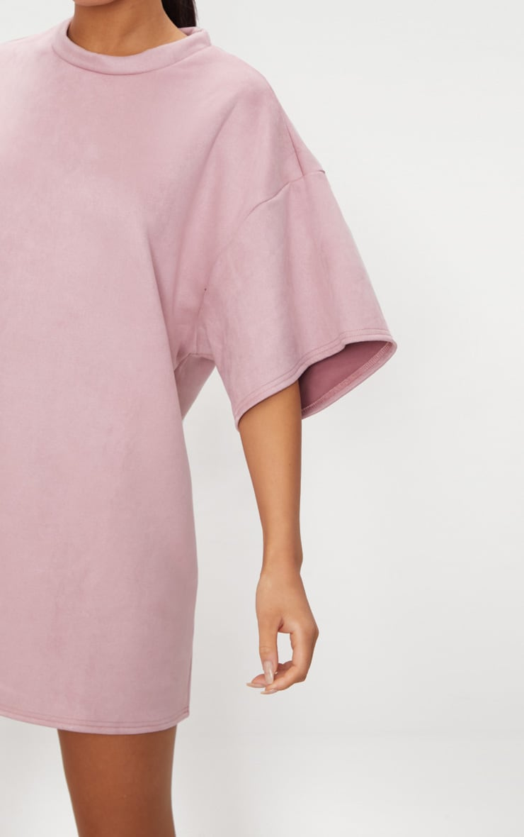 Pink Faux Suede Oversized T Shirt Dress 5