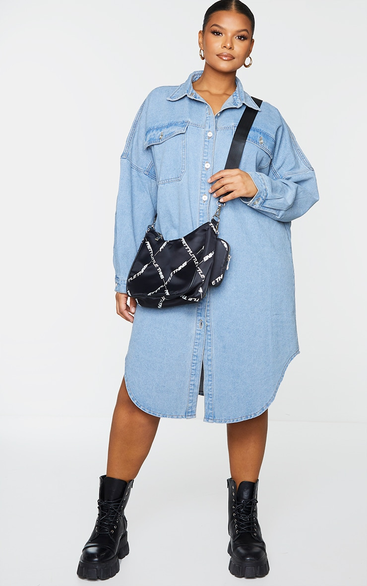 Plus Vintage Wash Longline Oversized Denim Shirt 1