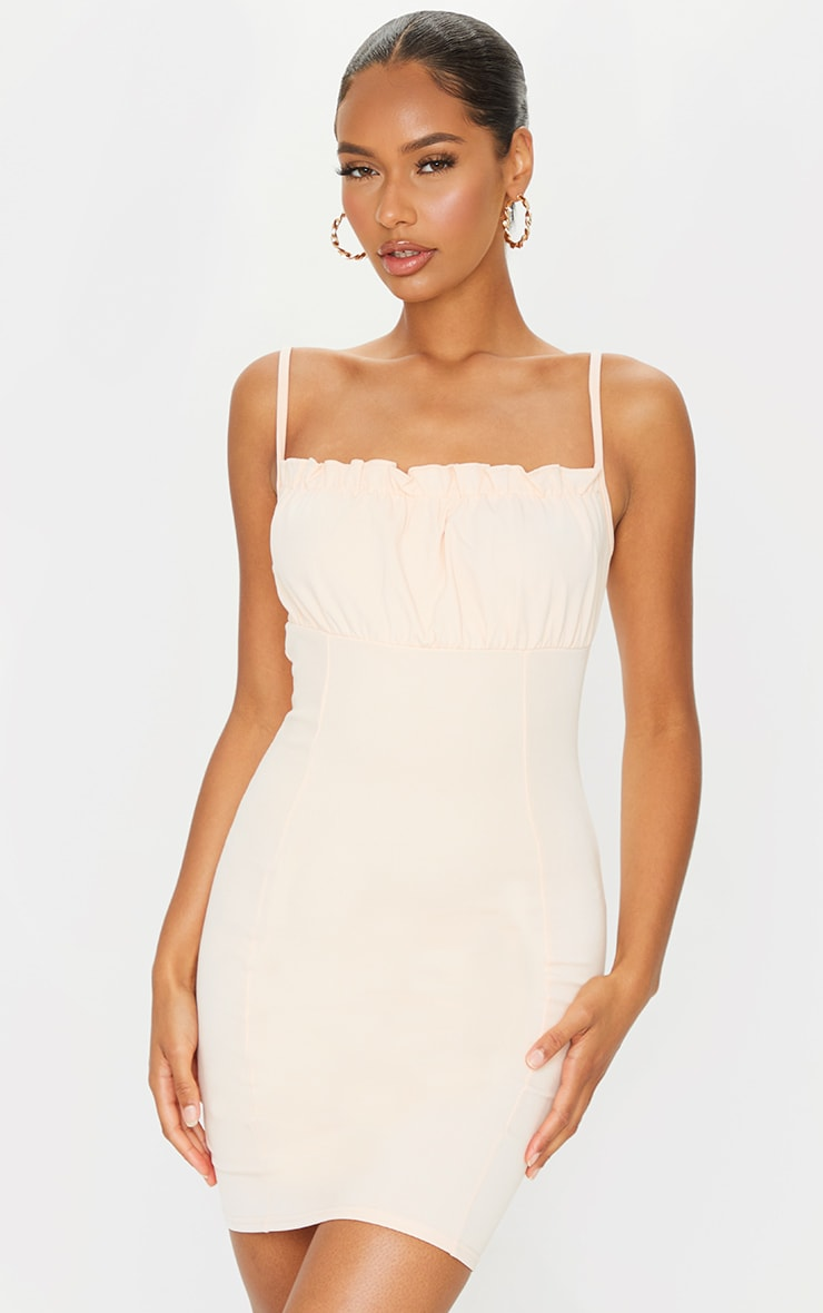 Nude Ruched Bust Strappy Bodycon Dress 1