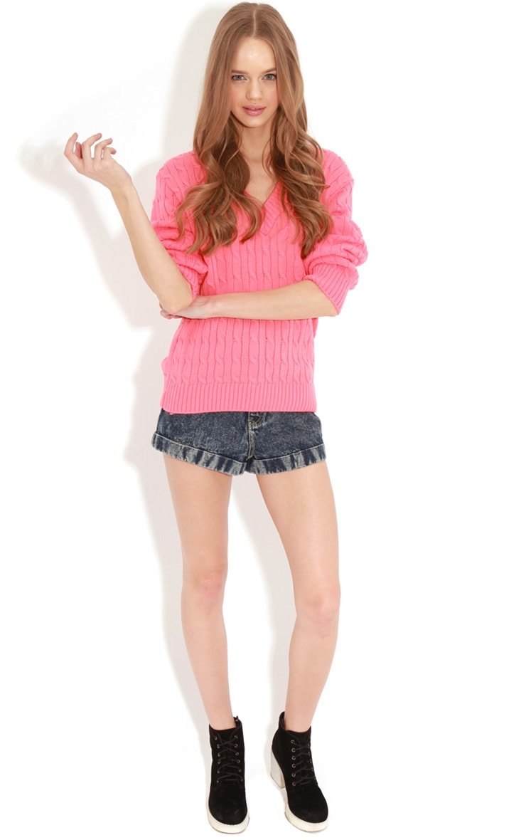Raveena Coral V Neck Cable Knit Jumper 3