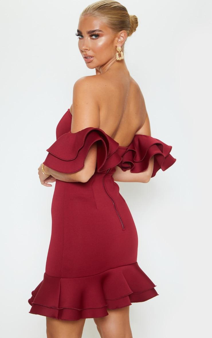 Burgundy Bonded Scuba Bardot Frill Hem Bodycon Dress 2
