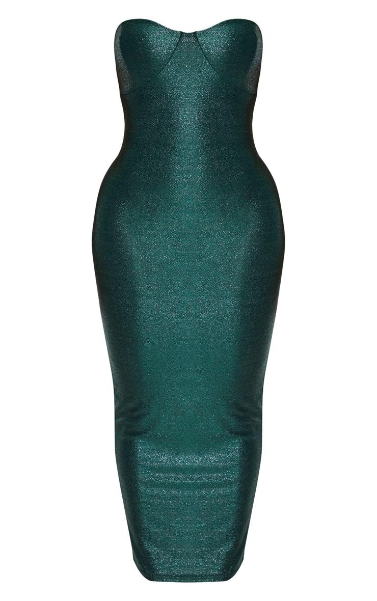Shape Emerald Glitter Cup Detail Bandeau Midaxi Dress 3
