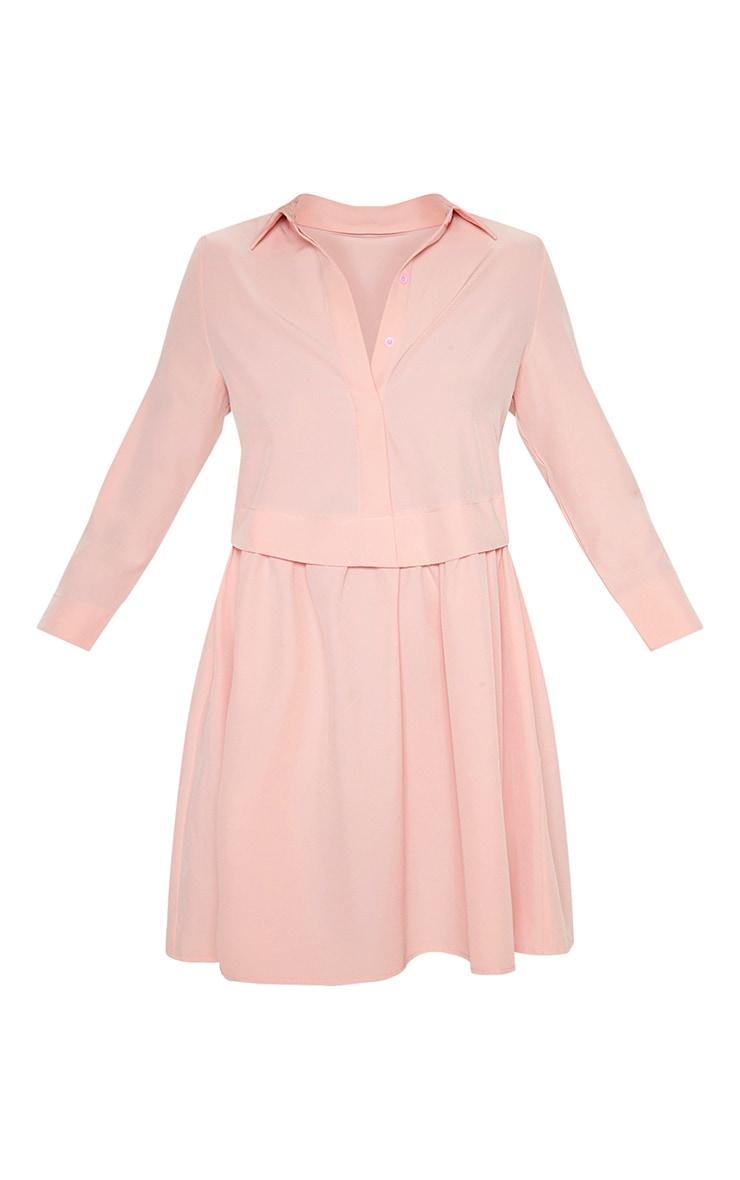 Robe chemise rose à effet superposé 3