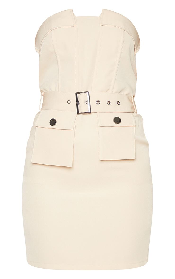 Nude Bandeau Belted Pocket Detail Bodycon Dress 5