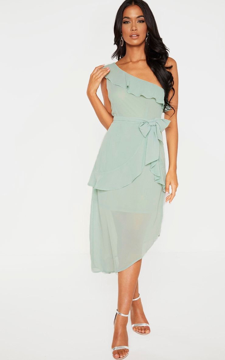 Sage Green Chiffon One Shoulder Midi Dress 1