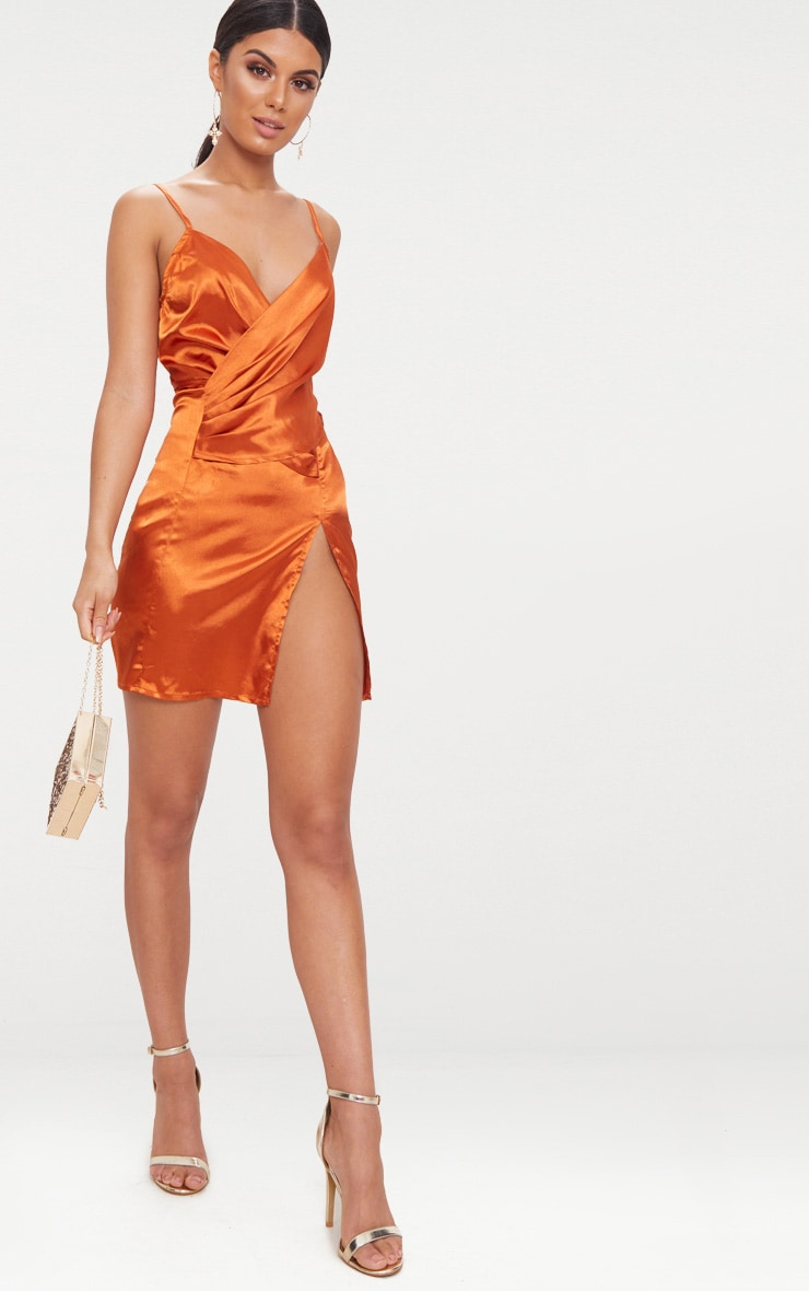 Copper Strappy Satin Pleated Wrap Dress 4