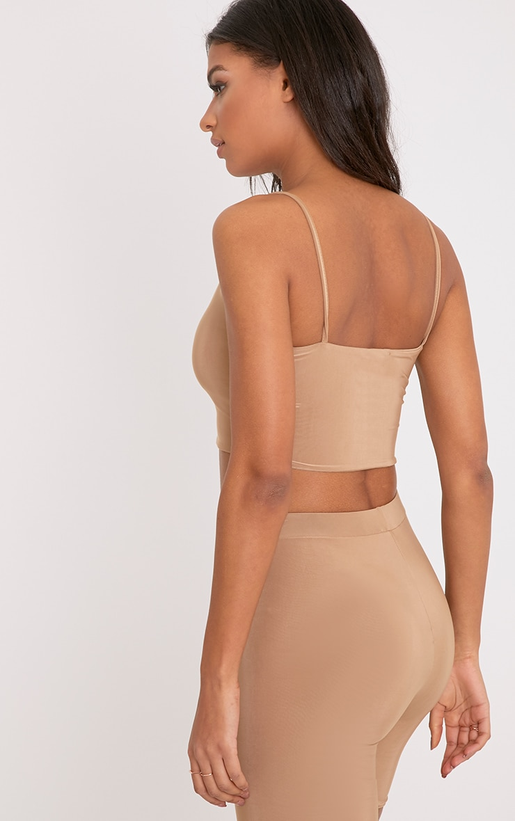 Bella Camel Slinky Cami Crop Top 2