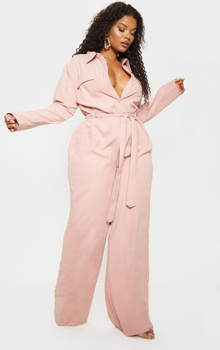 Plus Pink Faux Suede Button Front Wide Leg Jumpsuit 1