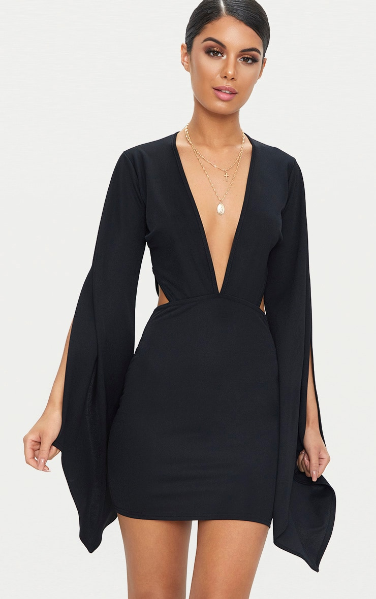 Black Flared Sleeve Cut Out Bodycon Dress 1