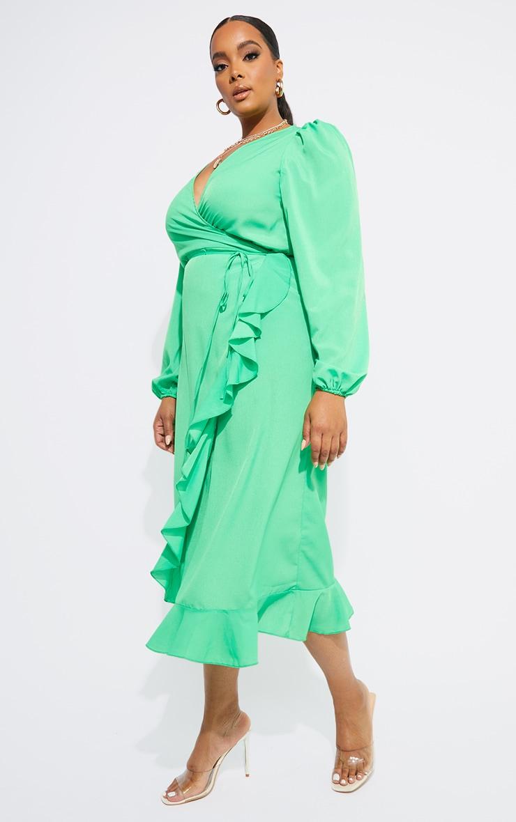 Plus Bright Green Ruffle Wrap Front Midi Dress 3
