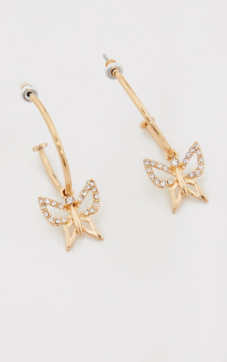 Gold Diamante Dainty Cut Out Butterfly Hoop Earrings 2