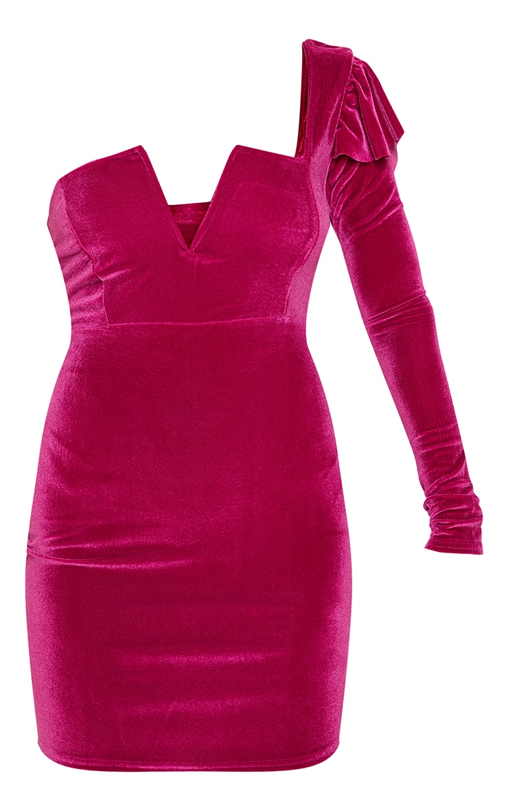 Hot Pink Velvet Plunge One Shoulder Bodycon Dress 3