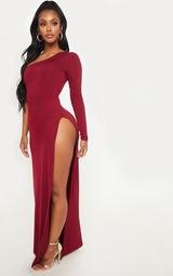 a1ccfad6683d Shape Burgundy Slinky One Shoulder Side Split Maxi Dress image 4