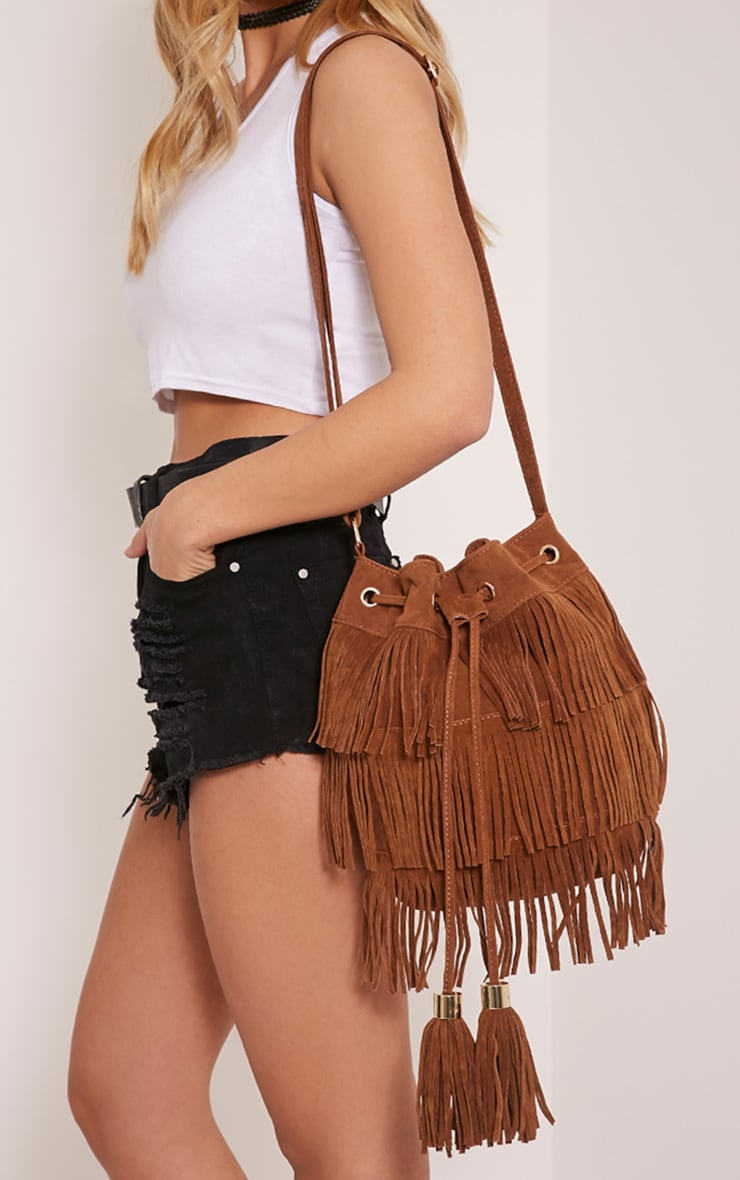 Alexa Tan Faux Suede Fringed Shoulder Bag 1
