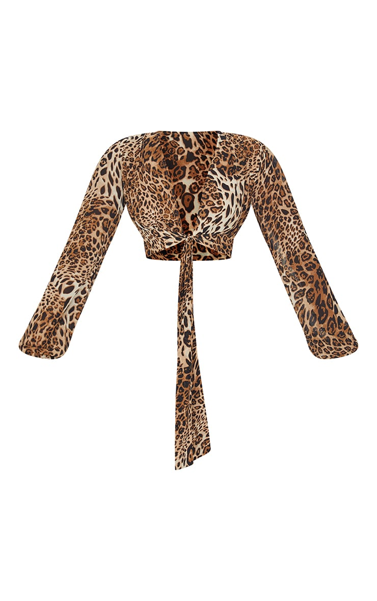 Tan Leopard Print Woven Tie Detail Plunge Shirt 5