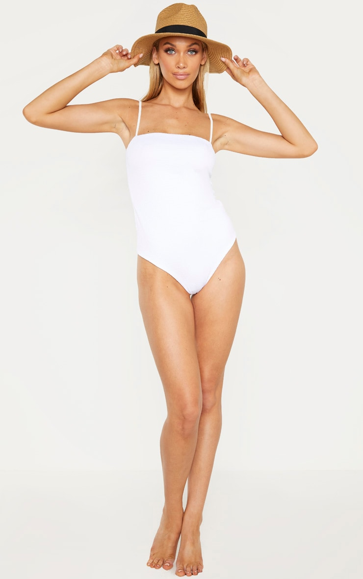 Tall White Crinkle Square Neck Strappy Swimsuit 1