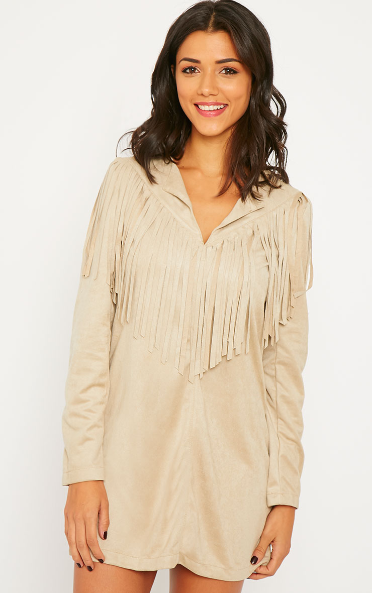 Elvin Stone Suede Fringe Mini Dress 1