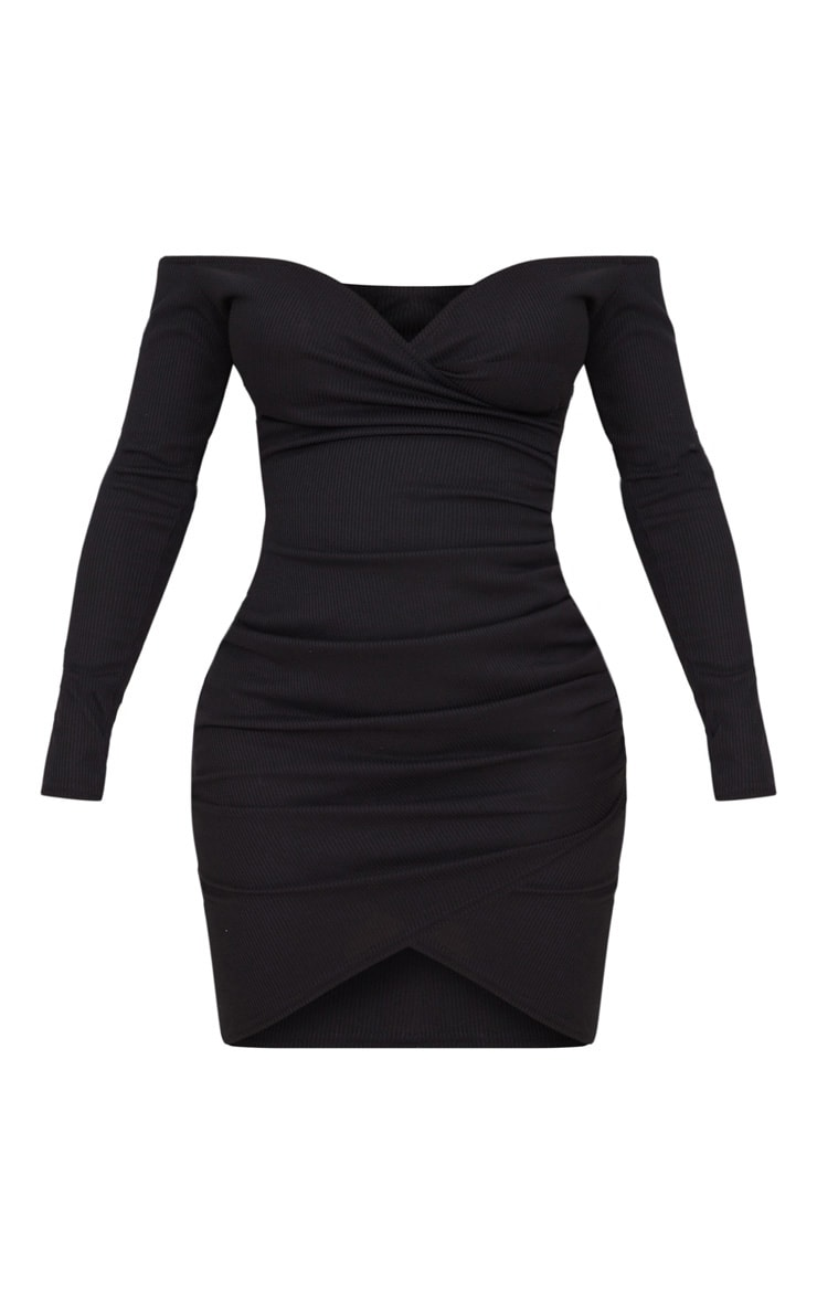 Shape Black Ribbed Bardot Bodycon Dress 3