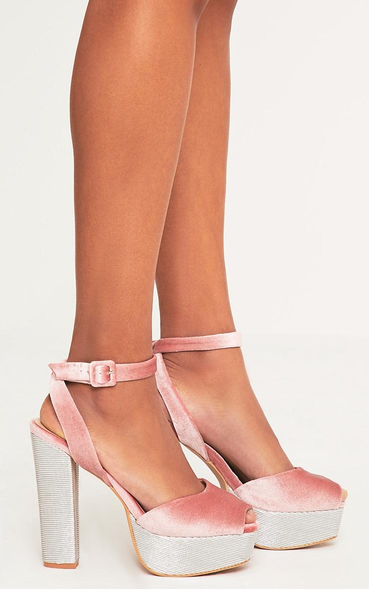 Dianne Pink Velvet Platform Heels 3