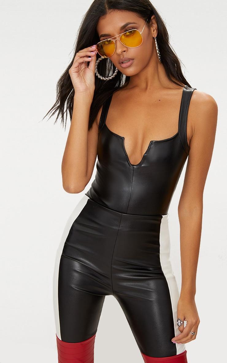 Black PU V Bar Thong Bodysuit 1