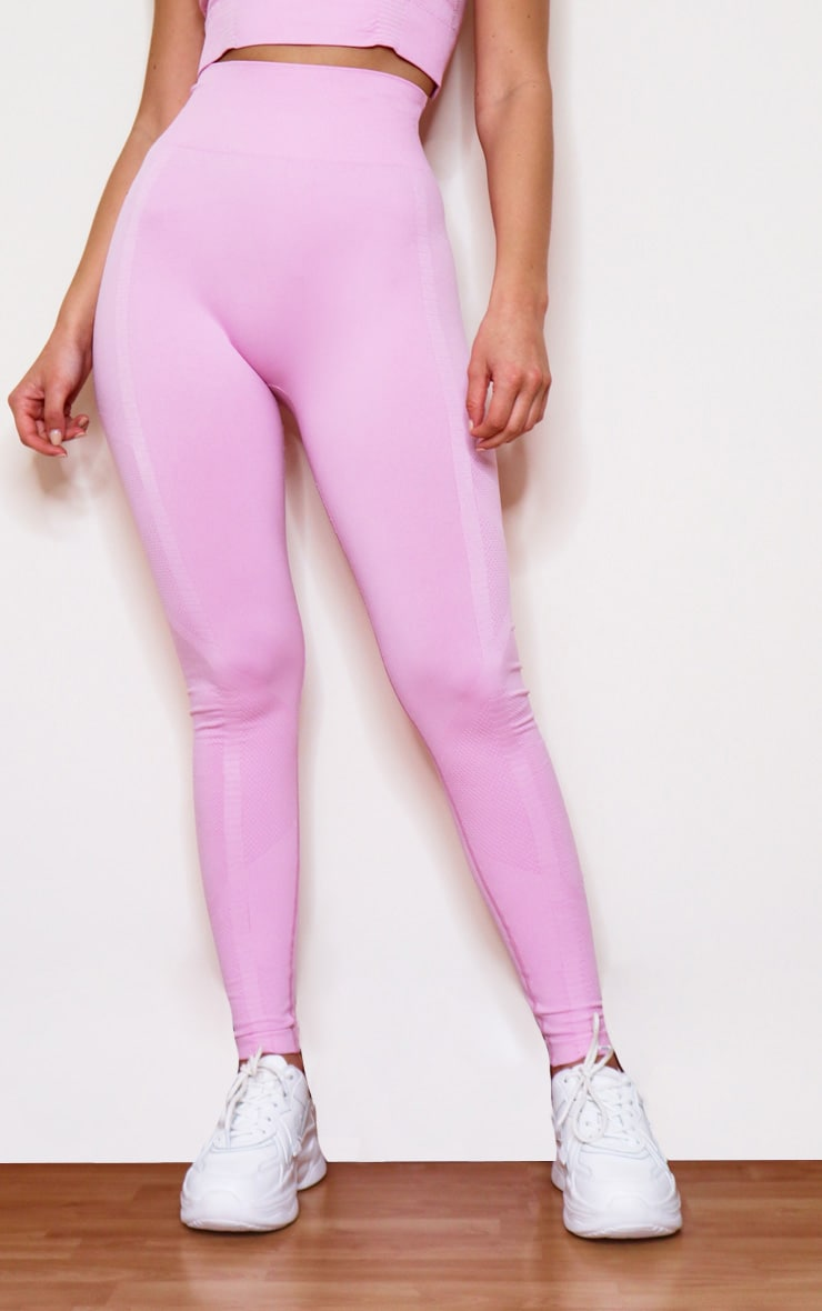 Pink Seamless High Waist Textured Gym Leggings 2