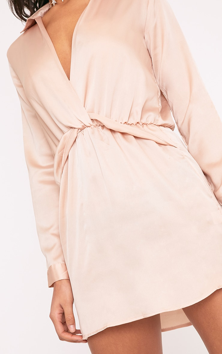 Katalea Champagne Twist Front Silky Shirt Dress 4