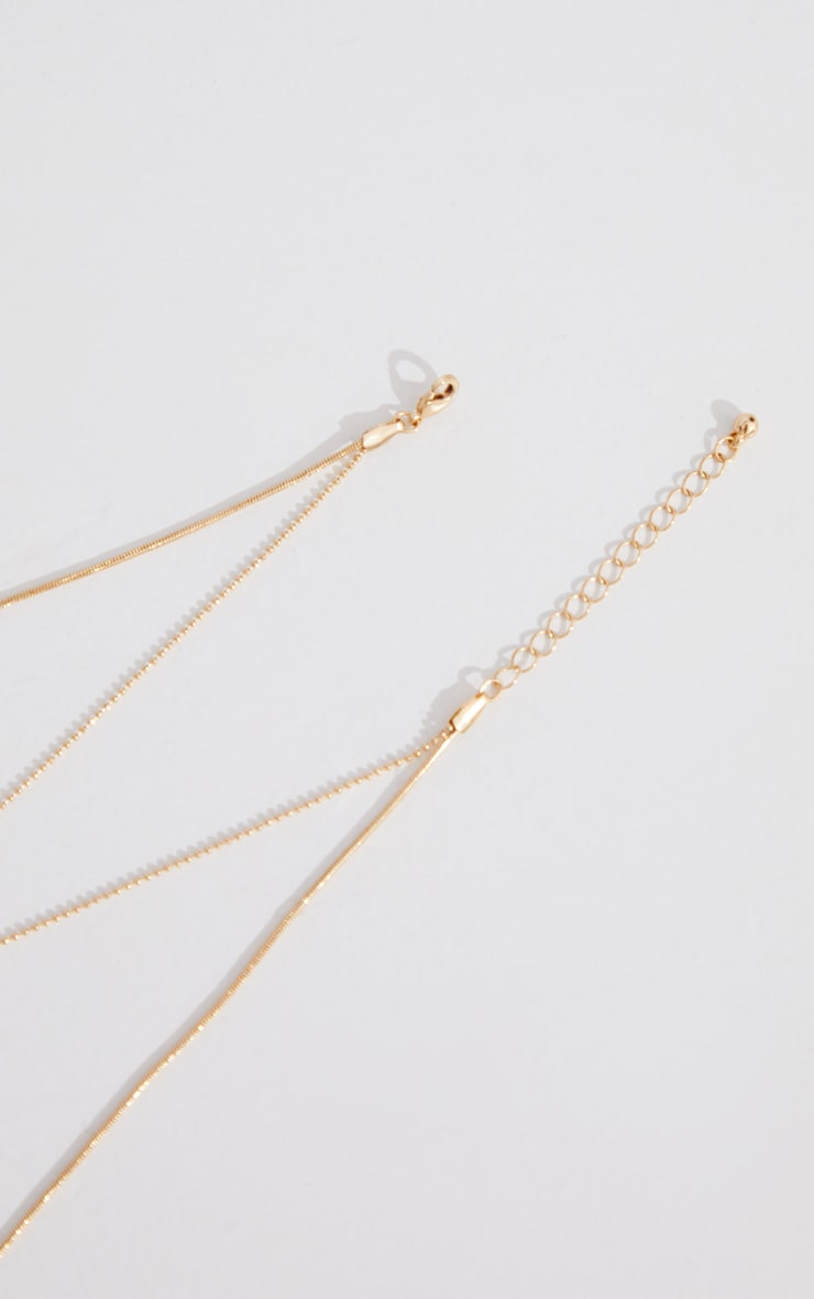 Gold Plain Chain Double Layering Necklace 4
