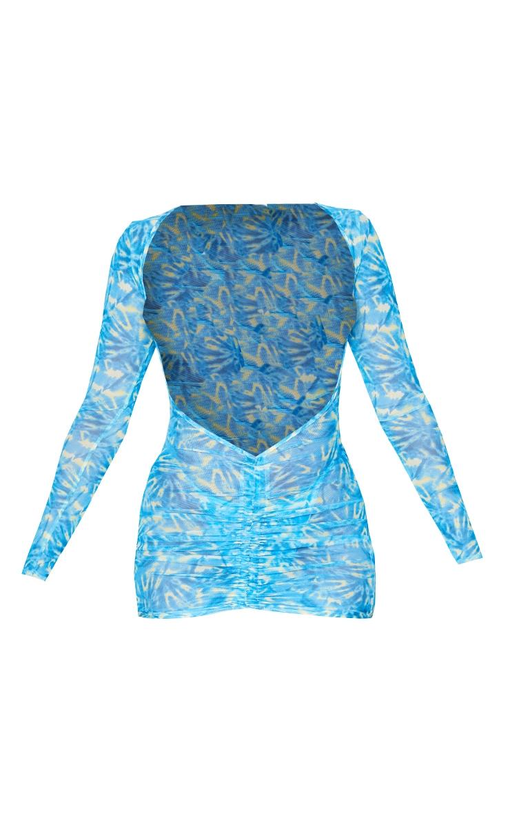 Yellow & Blue Tie Dye Mesh Ruched Dress 6