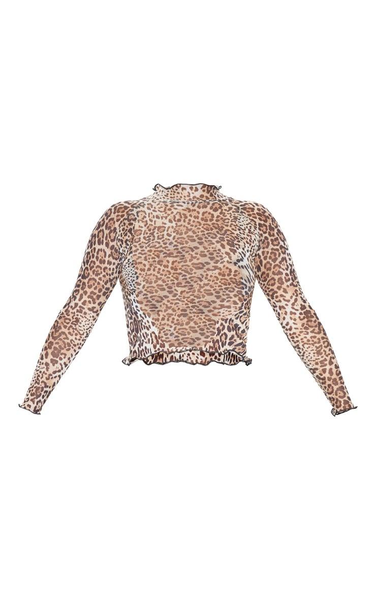 Tan Leopard Printed Mesh High Neck Long Sleeve Top 3