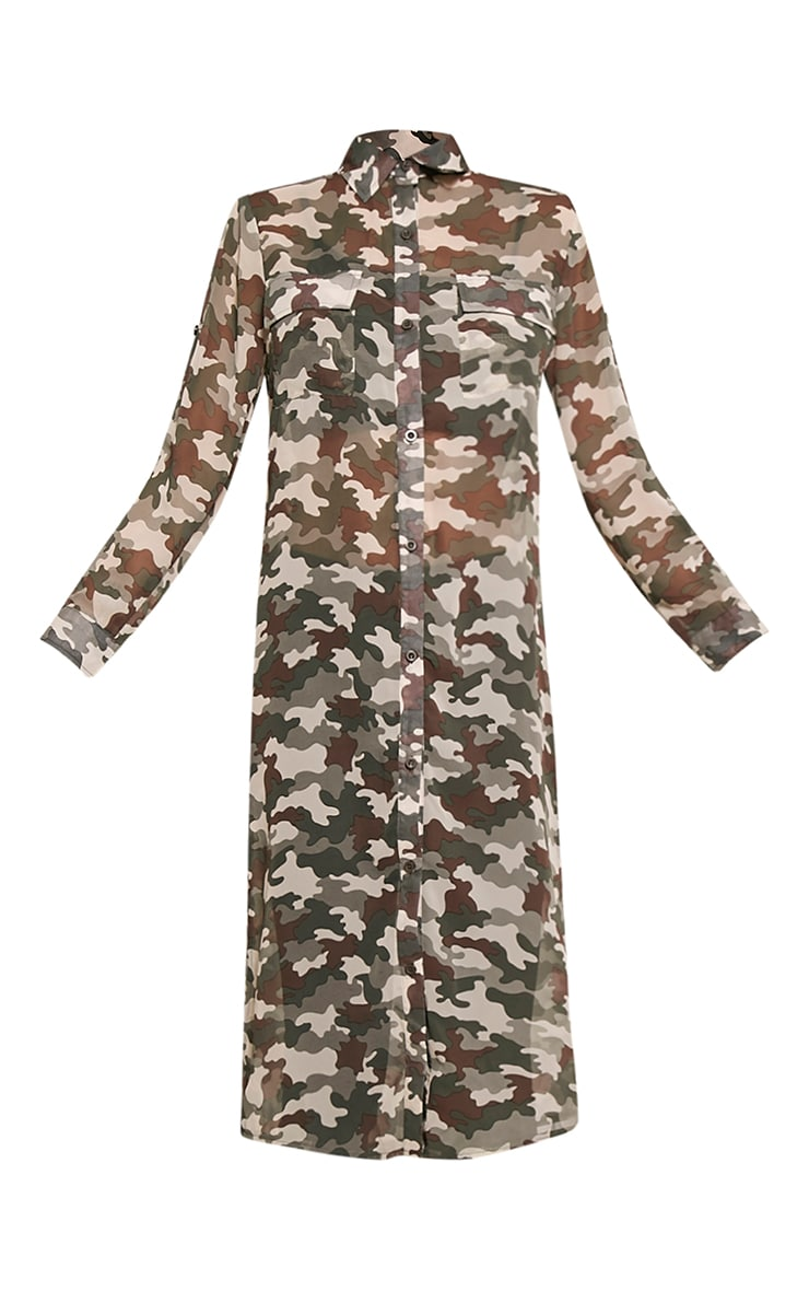 Tabia Khaki Camouflage Print Chiffon Longline Shirt 3