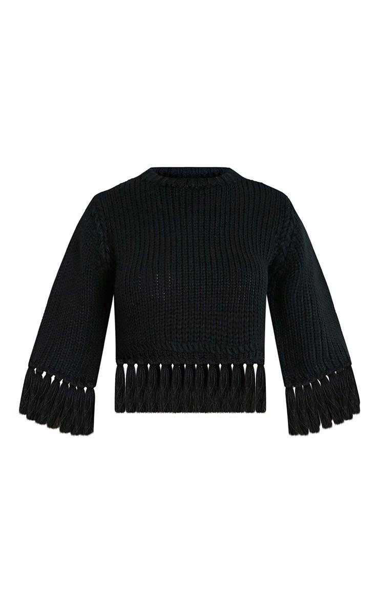 Shelia pull tricoté court à franges noir 3